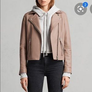 AllSaints, Dalby, Pink leather moto jacket